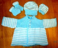 Hand knitted matinee coat/hat/booties/mitts set in blue/white new born baby boy