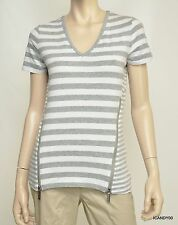 Nwt $79 Michael Kors Stretch Cotton Zip Sides V-Neck Short Sleeve Top Tee Gray S