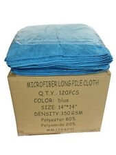 """120 Blue 14""""x14"""" Microfiber EXTRA PLUSH FLUFFY Cleaning Detailing Cloths 350GSM"""