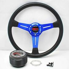 "BLUE 14"" STEERING WHEEL +HUB ADAPTER 01-12 CIVIC SCION tC 98-02 ACCORD 02-05 RSX"