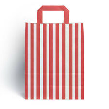25 x Red Candy Stripe Paper Party Gift Bags with Handles 18cm x 23cm + 8.5cm