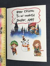 Wizard Harry Potter Theme Personalised Larger Christmas Card Any Name / Wording