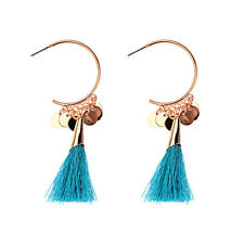 Turquoise Gold Plated Vintage Funky Crescent Moon Sequin Pendant Tassel Earrings