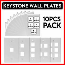 10 Pack White Keystone Wall Plate Network Jack Insert Rj45 Cat5e Cat6 Face Plate