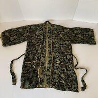 Vintage Glentex Japanese Kimono Robe Green Black Made in Japan Mens Size Regular