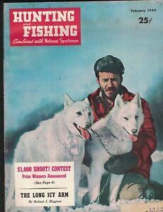 Hunting & Fishing Magazine February 1949 Alaskan Malemutes Cover