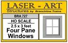 "Branchline # 727 Windows - Laser-Art  4-Pane, 30 x 36"" pkg(12)  HO MIB"