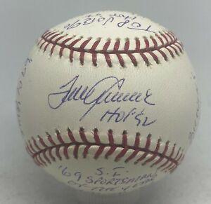 Tom Seaver Signed Stat Inscription Baseball 263/1000 Reggie Jackson Hologram HOF