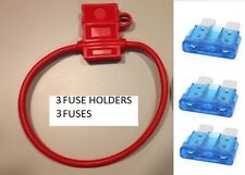 (3) 10 GAUGE ATC FUSE HOLDER With COVER + (3) 15 AMP FUSES IN-LINE 10 GA. USA