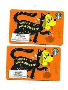 2 Starbucks Gift Cards  Collectible  -- Halloween --  Cat with Dog mask