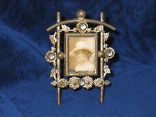 Antique Victorian Picture Frame Rhinestones-Gold Gilt Metal-Original Photo Woman