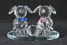 Two crystal dogs with pink/blue bows on mirror stand - Xmas Gift, Birthday -NEW