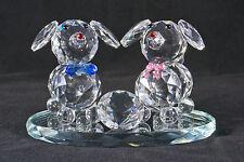 Due Cani CRISTALLO CON ROSA / BLU FIOCCHI SU SUPPORTO SPECCHIO-regalo di Natale, Compleanno-NUOVO