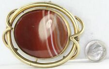 Large Victorian Antique Gold Filled Onyx Banded Agate Flip Swivelpin