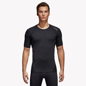 Gym T-Shirt Mens Adidas Alphaskin Tee Short Sleeve Top Black UV Protection