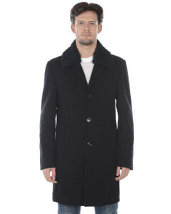 Cappotto Daniele Alessandrini Jacket Coat MADE IN ITALY Uomo Nero T529M5103906 1