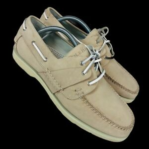 Cole Haan Country Mens Boat Shoes Ivory Lace Up Moc Toe 9.5M