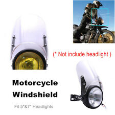 """Motorcycle PC Windshield Windscreen Guard Kit For 5""""&7"""" Headlights Frame Holder"""