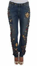 DOLCE & GABBANA Jeans NWT $6800 Crystal Roses Heart Embellished IT44 / US10 / L