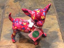 VERY RARE PINK WITH COLOURFUL FLOWERS Chihuahua Dog Money Box Pomme Pidou
