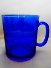 Collectible Cobalt Blue Glass Mug - Etched Palm Tree Tropical - Made in France