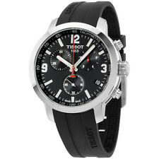 Tissot PRC 200 Chronograph Black Dial Black Rubber Mens Watch T0554171705700