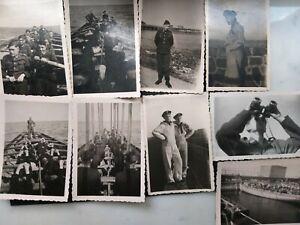 9 Fotos 2 WK Kriegsmarine Strahlsund 1944 Ausbildung Rudern Riemen holt ein TOPP