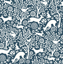 Woodland Meadow Animals Wallpaper by A Street Prints - Blue FD22730