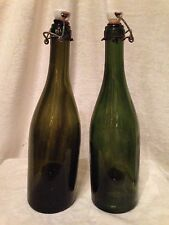 Vintage Set of 2 French Champagne Green Bottles Porcelain Stoppers