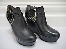 ROBERT CLERGERIE black leather platform wedge booties shoes size 39 WORN ONCE
