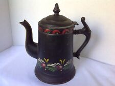 Antique AMERICAN TOLE COFFEE POT Tinware Leaves Flowers Americana Folk Art