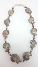 """Ammonite Fossil Necklace with Chrysoprase and Vintage Shell Beads 20.5"""" - J37"""
