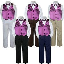 04e406c926 4pc Boy Suit Set Eggplant Plum Bow Tie Vest Baby Toddler Kid Formal Pants S-