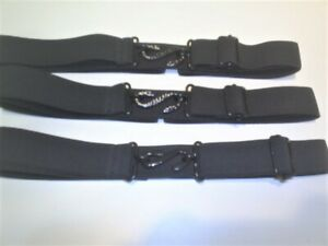 very rare all black snake buckle  belts elastic fits 30 to 42 waist  1inch wide