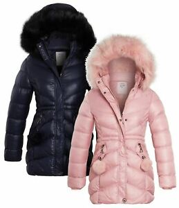 Girls Padded Parka Coat Age 13 5 7 8 9 11 12 14 Years Jacket Faux Fur Pink Navy