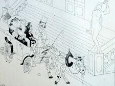 Cochet y Antiguo Caballo Transporte Guerra Humor Caricatura Albert Dubout 1944