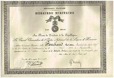 ANTICO DIPLOMA GENDARME 13ème LEGIONE MEDAGLIA MILITAIRE 1930