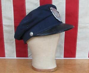 Vintage 1920s MetLife Insurance Fire Brigade Visor Cap Hat Firefighter Antique