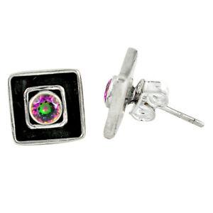 Multi Color Rainbow Topaz 925 Sterling Silver Stud Earrings Jewelry D6290
