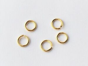7mm GOLD Over 925 Sterling Silver Strong Open Jump Rings 5 or10 Quality Saw Cut