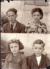 Portrait identité enfants double - négatif photo ancien an. 1930 40