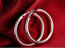 925 Sterling Silver Filled Large Round Hoop Drop Dangle Earrings Womens Jewelry