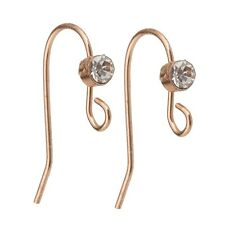 100pc Rose Gold Plated Crystal Beaded Earring Wire Hook 19mm x 15mm ET16