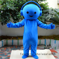 2019 Blue Music Headset Mascot Costume Cosplay Advertising Birthday Adults Dress