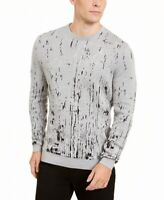 Alfani Men's Sweater Whispy Gray Size 2XL Paint-Splatter Crewneck $75 132