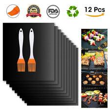 New listing 12Pcs Bbq Grill Mat Miracle Non Stick Barbecue Teflon Fiber Reusable + Brush �
