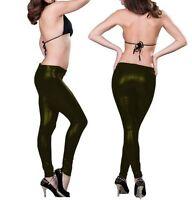 Sexy Stretch Leggings Damen Hose Khaki Lack Leder Jeggings Größe S/M