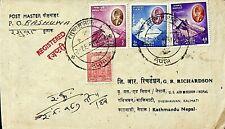 NEPAL 4v MOUNTAINS ON REGD COVER TO KATHMANDU
