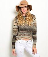 Boho Western Soft Warm Long Sleeve Wool Alpaca Blend Hi-Low Winter Sweater S-M