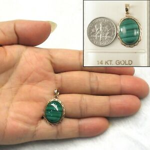 Genuine Natural Green Cabochons Malachite Pendant in 14k Solid Yellow Gold TPJ
